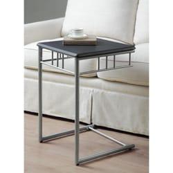 Black/ Silver Metal Snack Table