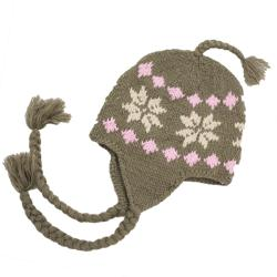 Leisureland Hand-crocheted Brown Snowflake Acrylic Beanie Hat
