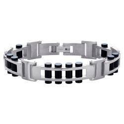 Titanium Mens Black Tone Link Bracelet
