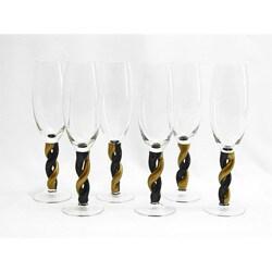 Gold/ Black Twisting Stem Champagne Flute Glass (Set of 6)