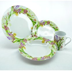 Three Star Purple Orchids 16-piece Dinnerware Set (As Is Item)