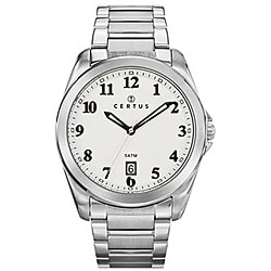 Certus Paris Men's Stainless-Steel White Dial Date Quartz Watch with Luminescent Hands