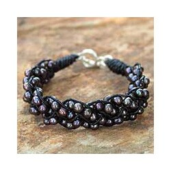 Handmade Silver 'Night Paths' Leather Pearl Bracelet (4.5-5 mm) (Thailand) 9262021