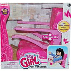 My Girl Plastic Adjustable Pink Clip-on Chair for 18 in. Dolls