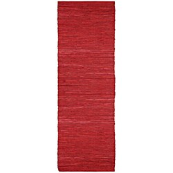 Hand-woven Matador Red Leather Runner Rug (2'6 x 12')
