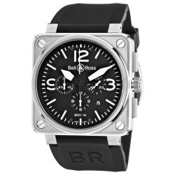 Bell & Ross Men's BR01-94STEEL 'Aviation' Black Dial Rubber Strap Chronograph Watch