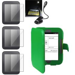 INSTEN Green Leather Phone Case Cover/ Screen Protector/ LED Light for Barnes & Noble Nook 2