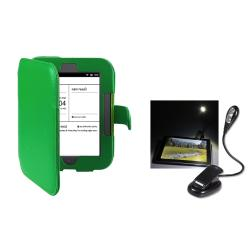 INSTEN Green Leather Phone Case Cover/ LED Reading Light for Barnes & Noble Nook 2
