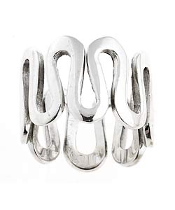 Journee Collection Sterling Silver Sculptured Wave Ring