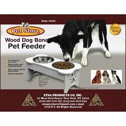 Wooden Dog Bone Design Pet Feeder