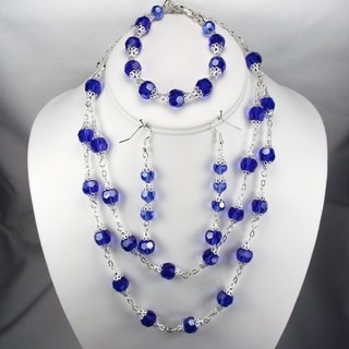 Dark Sapphire Crystal Wedding Jewelry Set