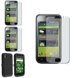 INSTEN Black Hybrid Phone Case Cover/ Screen Protectors for Samsung Galaxy S i9000