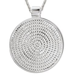 Sterling Silver Rope Round Pendant Necklace