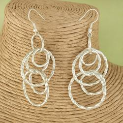 Handcrafted Silver Plated Interlocking Circles Dangle Earrings (India)