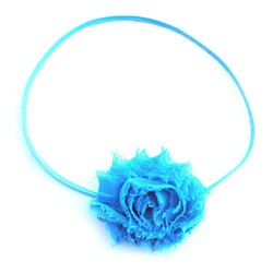 Itty Bitty Turquoise Shabby Flower Headband