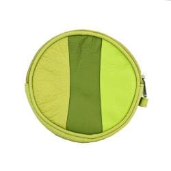 Bright-green Color-blocked Leather Round Zip-top Compact Coin Purse