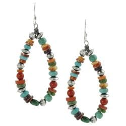 Journee Collection Sterling Silver Genuine Turquoise Coral Bead Earring