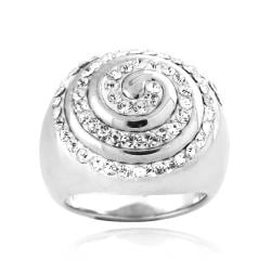 Icz Stonez Sterling Silver Clear Crystal Swirl Ring