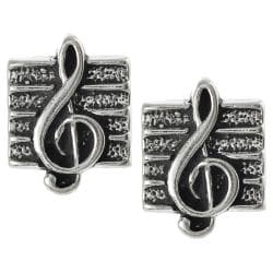 Journee Collection Sterling Silver Musical Treble Clef Stud Earrings