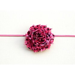 Boutique Pink Cheetah Shabby Flower Headband