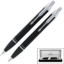 Parker IM Black Chrome Trim Ballpoint Pen and Mechanical Pencil Gift Set