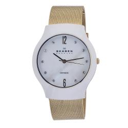 Skagen Women's Ceramic MOP Dial Goldtone Steel Mesh Band Watch