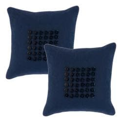 Buttons Navy Decorative Pillows (Set of 2)