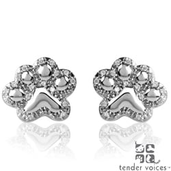 ASPCA Tender Voices 1/6ct TDW Diamond Paw Stud Earrings