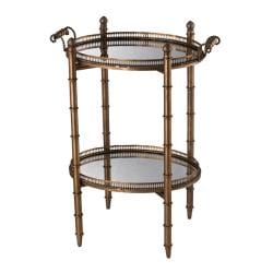 Antique Gold Finish Mirrored Top Double Tray Table