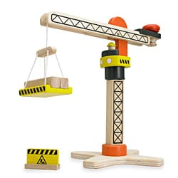 Wonderworld Toys Yellow Mini Wooden Working Tower Crane with Two Logs