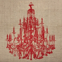Art in Style 'Chandelier Red' Decoupage On Burlap Art