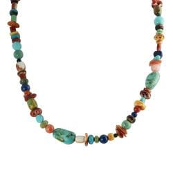 Journee Collection Silver Genuine Turquoise, Coral and Shell Bead Necklace