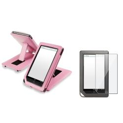 Pink Leather Case/ Screen Protector for Barnes & Noble Nook Tablet