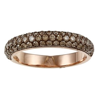 18k Rose Gold 1ct TDW Pave Brown Diamond Band