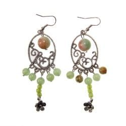 Miao Silver Jade Earrings (China)