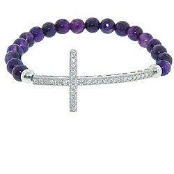 Eternally Haute Silver Purple Agate and CZ Cross Stretch Sideways Bracelet