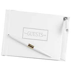 White Small Guest Book With Pen