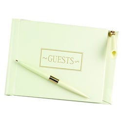 Ivory Small Guest Book With Pen