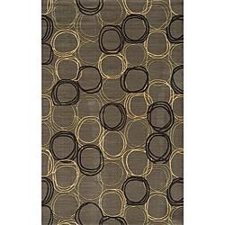 Soho Triple Circles Power-Loomed Grey Wool Rug (8' x 11')