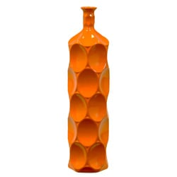 Large Orange Ceramic Bottle