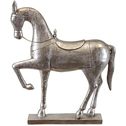 Silver Resin Horse Statue