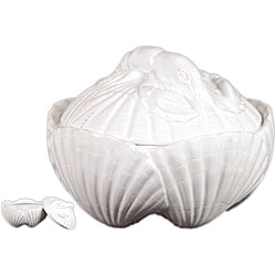 Ceramic Seashell Container White