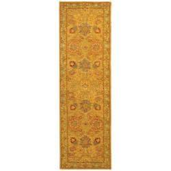 Safavieh Handmade Isfan Dark Gold/ Light Green Wool Runner (2'3 x 8')