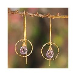 Gold Overlay 'Rose Dreamer' Amethyst Dangle Earrings (Thailand)