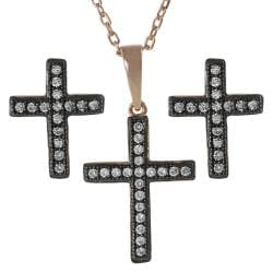 Journee Collection Rose Gold-plated Silver White Cubic Zirconia Rhodium Cross Set
