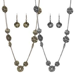 Journee Collection Base Antiqued Chain and Circle Necklace Earring Set