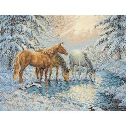 """Sunlit Stream Horses Counted Cross Stitch Kit-11-3/4""""X15-3/4"""" 14 Count"""
