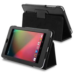 Black Leather Case with Stand for Google Nexus 7