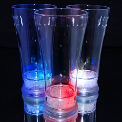 Light Up Pilsner Glass with Red, White and Blue LEDs (Set of 12)