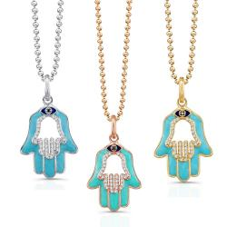 Victoria Kay 14k Gold 1/5ct TDW Diamond and Blue Enamel Hamsa Necklace 9490798